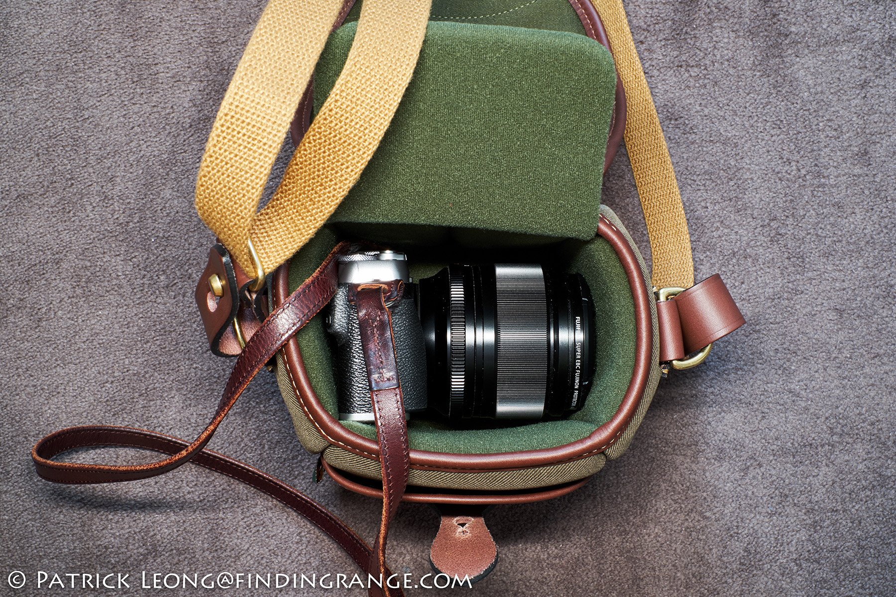 Billingham 72 Camera Bag Review Digital Burgundy Canvas Chocolate Leather I Also Have The Divider In Here Fuji X E3 With Massive Xf 56mm F12 Apd Attached